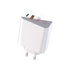 Nabíječka / adaptér BASEUS pro Apple iPhone / iPad / MacBook - USB-C + USB - 45W - LCD displej - EU - bílá