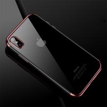Kryt CAFELE pro Apple iPhone X - gumový / pokovené hrany - průhledný / Rose Gold