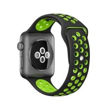 Řemínek pro Apple Watch 38mm Series 1 / 2 / 3 silikonový - černý / zelený - (S/M)