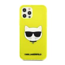Kryt KARL LAGERFELD Choupette pro Apple iPhone 12 / 12 Pro - gumový - žlutý