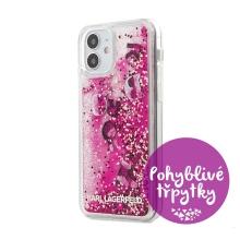 Kryt KARL LAGERFELD Liquid Glitter Charms pro Apple iPhone 12 mini - pohyblivé třpytky - barevný