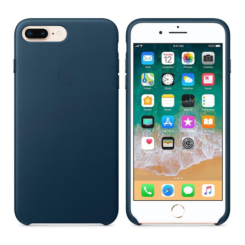 Originální kryt pro Apple iPhone 7 Plus / 8 Plus - kožený - vesmírně modrý
