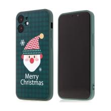 Kryt pro Apple iPhone 12 mini - vánoční - gumový - zelený / Santa Claus
