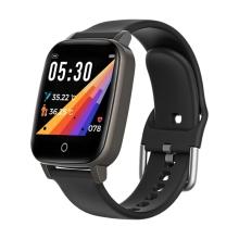 Fitness chytré hodinky T1 - měření teploty / krokoměr / měřič tepu - Bluetooth - kovové - černé