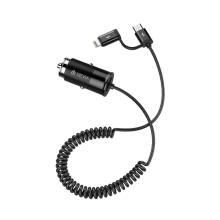 Autonabíječka DEVIA - kabel USB-C +  Lightning 1m + USB-A (2,4A) - černá