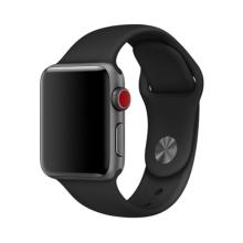 Řemínek pro Apple Watch 44mm Series 4 / 5 / 6 / SE / 42mm 1 / 2 / 3 - bez spony - silikonový - velikost S - černý