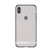 Kryt USAMS pro Apple iPhone X - gumový - šedý / průhledný s matným pruhem