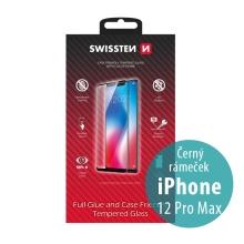 Tvrzené sklo (Tempered Glass) SWISSTEN Case Friendly pro Apple iPhone 12 Pro Max - 2,5D - černý rámeček - 0,3mm