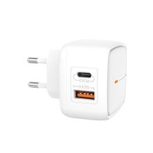Nabíječka / EU napájecí adaptér XO L60 - USB + USB-C - 18W QuickCharge - bílý