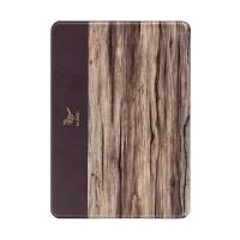 Pouzdro MOKKA pro Apple iPad 9,7 (2017-2018) - stojánek + prostor pro platební karty - 3D textura dřeva - hnědé