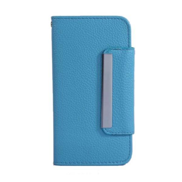 Ochranné pouzdro ve stylu peněženky s magneticky upevňujícím plastovým krytem a klipem pro Apple iPhone 6 / 6S - modré