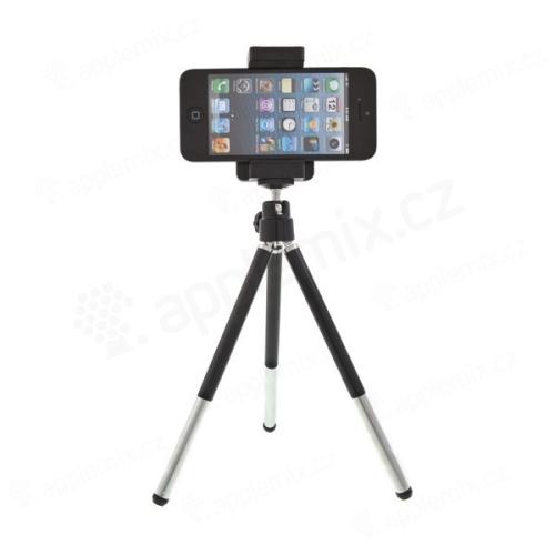 Univerzální stativ / stojánek / tripod s držákem a výsuvnými nohami pro Apple iPhone a další telefony (max. 7 cm)