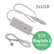 Autonabíječka pro Apple MacBook Pro 15 Retina s 2x USB porty - 85W MagSafe 2 - bílá