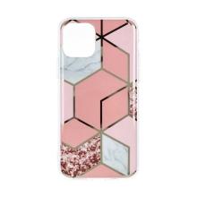 Kryt FORCELL Marble Cosmo pro Apple iPhone 12 / 12 Pro - gumový - růžové šestiúhelníky