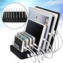 Nabíjecí stanice / nabíječka s 8x USB porty (5V / 19.2A max., 96W) - černá