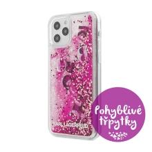 Kryt KARL LAGERFELD Liquid Glitter Charms pro Apple iPhone 12 / 12 Pro - pohyblivé třpytky - barevný