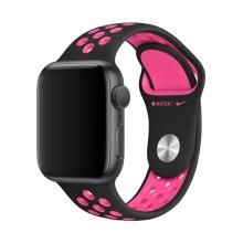 Originální řemínek Nike+ pro Apple Watch 42mm Series 1 / 2 / 3 / 44mm Series 4 / 5 - silikonový - černý / růžový