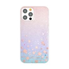 Kryt KINGXBAR pro Apple iPhone 12 / 12 Pro - třpytky a hvězdičky - růžový - gumový