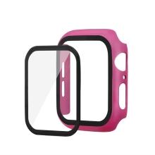 Tvrzené sklo + matný rámeček pro Apple Watch 44mm Series 4 / 5 / 6 / SE - tmavě růžový