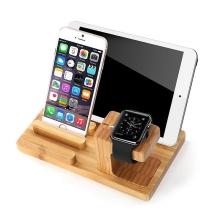 3v1 dřevěný nabíjecí držák / stojánek pro Apple iPhone / Apple Watch / iPad - světlý