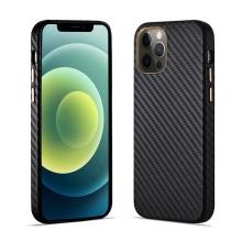 Kryt pro Apple iPhone 12 / 12 Pro - karbonová textura - plastový - černý