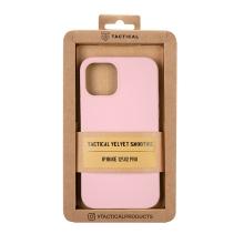 Kryt TACTICAL Velvet Smoothie pro Apple iPhone 12 / 12 Pro - příjemný na dotek - silikonový - růžový