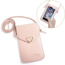 Pouzdro / brašna pro Apple iPhone - průhledná zadní strana - zlatá spona - umělá kůže - růžová