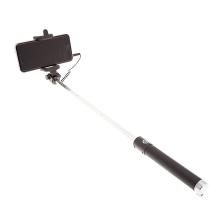 Selfie tyč teleskopická / monopod - kabelová spoušť - stříbrná / černá