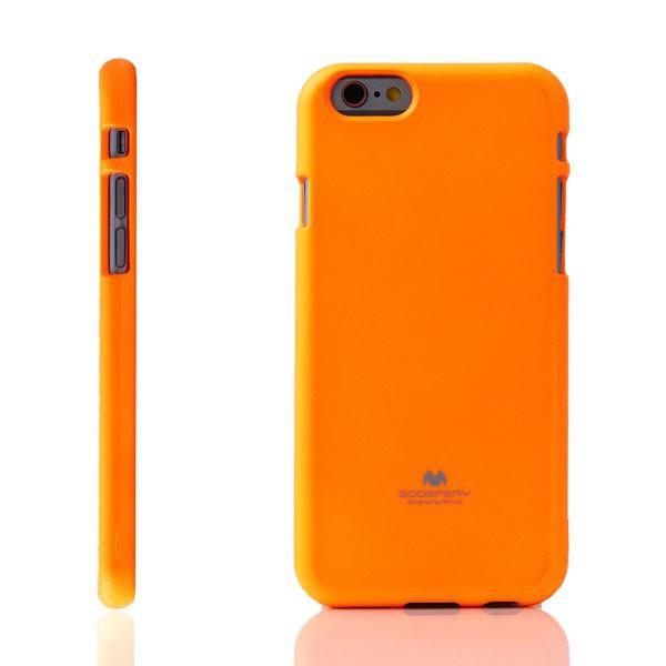 Gumový kryt Mercury pro Apple iPhone 6 / 6S - jemně třpytivý - neonově oranžový