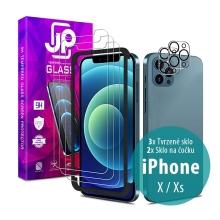 Tvrzené sklo JP Mega Pack pro Apple iPhone X / Xs - čiré - sada 3 kusů + aplikátor + 2x sklo na čočku