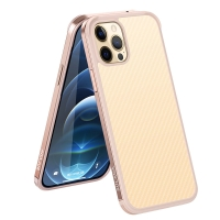 Kryt SULADA pro Apple iPhone 12 / 12 Pro - gumový / kovový - karbonová textura - průhledný - Rose Gold