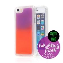 Kryt TACTICAL Glow pro Apple iPhone 5 / 5S / SE - pohyblivý svíticí písek - plastový - oranžový / fialový