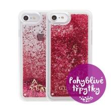 Kryt GUESS Raspberry pro Apple iPhone 6 / 6S / 7 / 8 - plastový - glitter / růžové třpytky