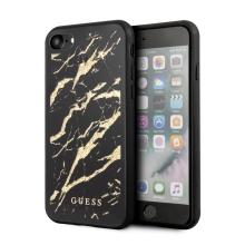 Kryt GUESS Marble pro Apple iPhone 7 / 8 / SE (2020) - plastový - zlaté třptyky / černý