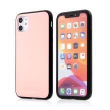 Kryt FORCELL Glass pro Apple iPhone 11 - gumový / skleněný - růžový