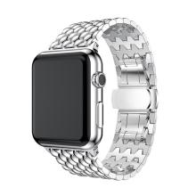 Řemínek pro Apple Watch 40mm Series 4 / 5 / 6 / SE / 38mm 1 / 2 / 3 - šestiúhleníky - nerezový - stříbrný