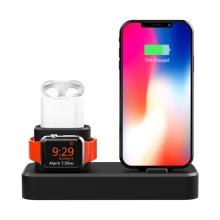 Nabíjecí stanice / stojánek pro Apple iPhone + AirPods + Watch - silikonový - černý