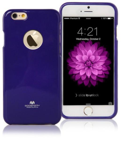 Gumový kryt Mercury pro Apple iPhone 6 / 6S s výřezem pro logo - jemně třpytivý - fialový