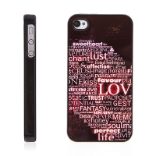 Plastový kryt s hliníkovým povrchem pro Apple iPhone 4 / 4S - zamilované vzkazy - černo-červený