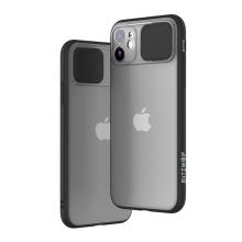Kryt BLITZWOLF pro Apple iPhone 11 - plastový / gumový - posuvná krytka fotoaparátu - průhledný / černý