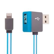 Synchronizační a nabíjecí kabel Lightning - pravoúhlý USB konektor + připojovací USB port - modrý