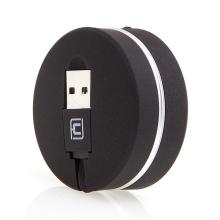 Synchronizační a nabíjecí kabel Lightning pro Apple iPhone/ iPad / iPod - navíjecí - plochý - černý