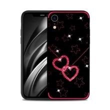 Kryt NXE pro Apple iPhone Xr - srdce a hvězdy s kamínky - černý