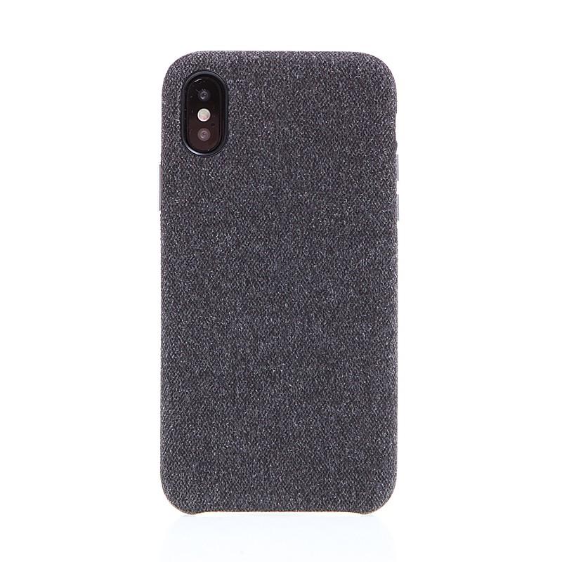 Kryt XOOMZ pro Apple iPhone X - plastový   látkový - tmavě šedý 8b6fb231245