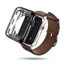 2v1 Kryt / rámeček DUX DUCIS pro Apple Watch 42mm 1 / 2 / 3 - lesklý černý + průhledný - gumové