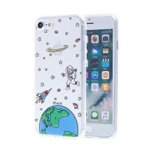 Kryt pro Apple iPhone 7 / 8 - gumový - průhledný / kosmonaut, raketa a Země