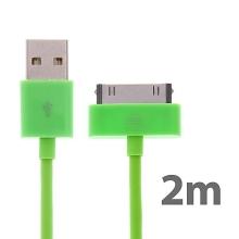 Synchronizační a nabíjecí kabel s 30pin konektorem pro Apple iPhone / iPad / iPod - silný - zelený - 2m