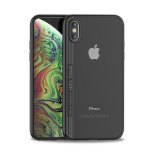 Kryt IPAKY pro Apple iPhone Xs Max - plastový / gumový - průhledný / černý
