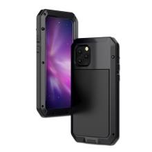 Pouzdro pro Apple iPhone 11 Pro - outdoor - kov / silikon - tvrzené sklo na přední straně - černé