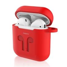 Pouzdro / obal ROCK pro Apple AirPods - silikonové + šňůrka k AirPods - červené